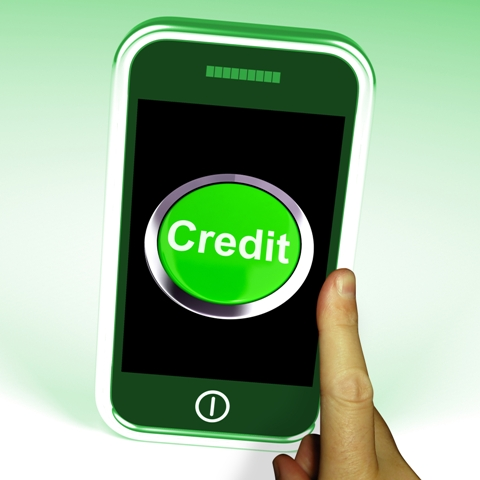 Credit Button On Mobile Showing Finance Or Loan For Purchases