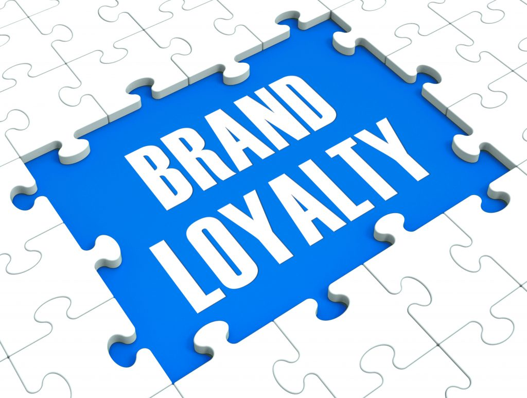 Brand Loyalty Puzzle Showing Trustworthy Products And Clients Satisfaction